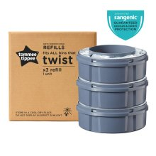Tommee Tippee Twist and Click Advanced Nappy Bin Refill Cassettes, Pack of 3