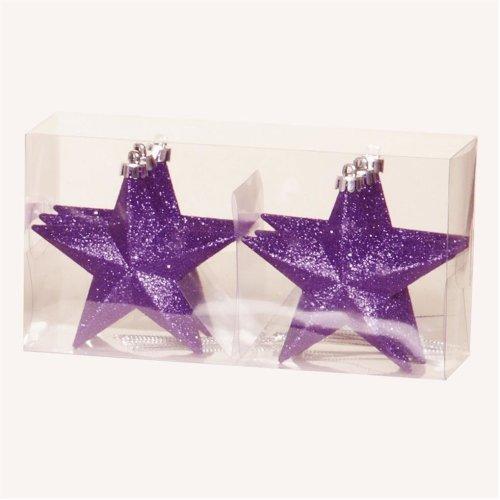 Christmas Tree Decoration 6 100mm Shatterproof Glitter Stars - Purple