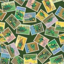 Fat Quarter John Deere Tractor Stamps Toss 100% Cotton Quilting Fabric