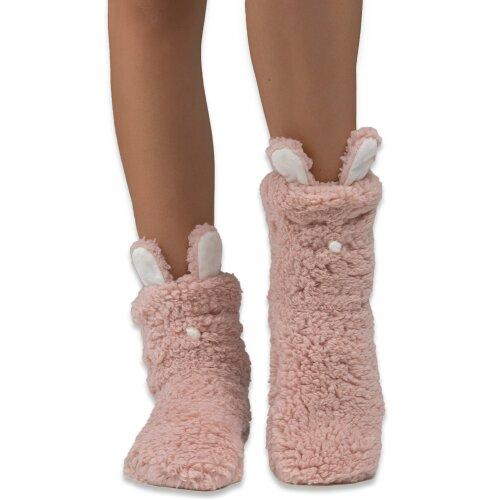 (Dusty Pink) Dearfoams Women's Flurry Animal Slipper Sock with Grippers