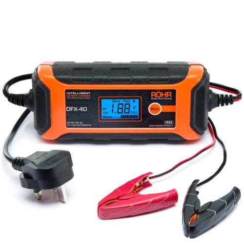 Röhr DFX-40 Smart Car Battery Charger AGM / GEL / WET Repair 4 Amp 6v / 12v   Intelligent Trickle / Turbo Fast Charge