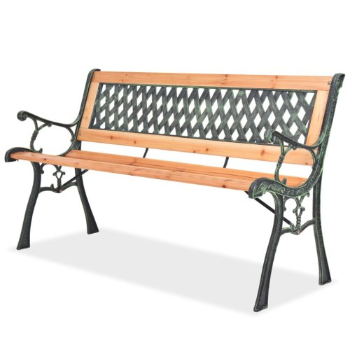 vidaXL Garden Bench 122cm Wood Diamond-Patterned Backrest Outdoor Park Seat