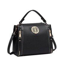 Miss Lulu Women Handbags Pu Leather Casual Travel Ladies Top Handle Crossbody Shoulder Messenger Bag Medium Tote (Black)