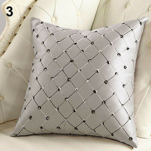 (Silver Grey) Cotton Square Lattice Throw Pillow Case Waist Cushion Cover Home Sofa Bed Decor