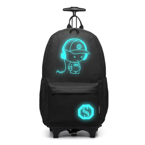 Kono Rolling School Bag for Boys Girls Anime Luminous Backpack Men Women Wheeled Laptop Backpacks Waterproof Travel Rucksack Black