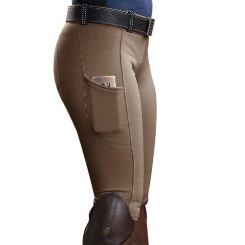 (khaki, M) Women,s Riding Elastic Compression High-Waist Sports-Leggings Belt Training Fitness-Pants