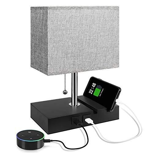 USB Table Lamp with 2 Useful USB Ports, Aooshine USB Bedside Lamp, Suitable for Nightstand Lamp or Bedroom Lamps, Grey Fabric Shade Bedside Table La