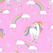 Fat Quarter Unicorns Rainbow No Hair Pink Fantasy Cotton Quilting Sewing Fabric
