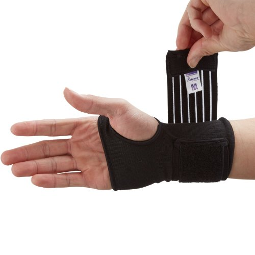 (Small , Beige) Actesso Elastic Wrist Support With Strap - Ideal for Sprains, Injury or Sports Use - No Metal Bar