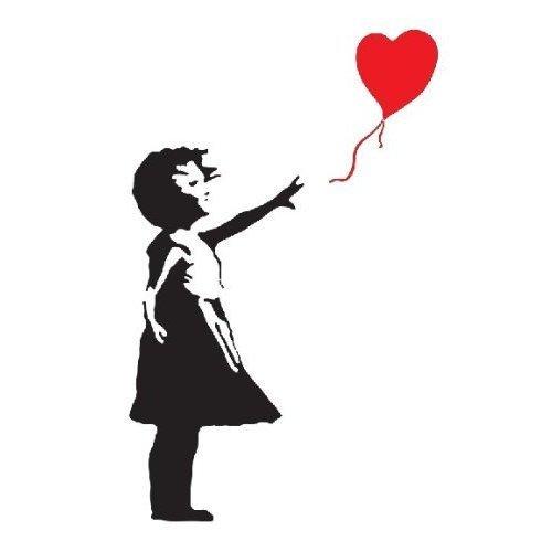 BANKSY GIRL WITH HEART BALLOON VINYL WALL ART DECAL STICKER 120CM (H) X 60CM (W)