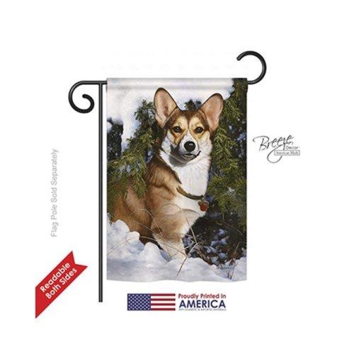 Breeze Decor 60088 Pets Corgi 2-Sided Impression Garden Flag - 13 x 18.5 in.