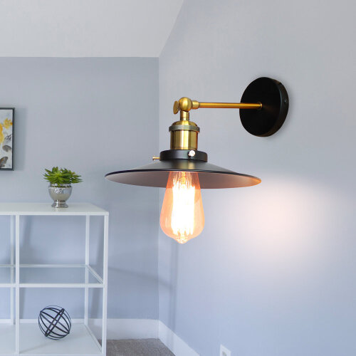 (Dia 26cm, Black) Straight Wall Lamp Ceiling Light Flying Saucer Shape
