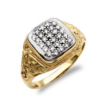 Jewelco London Men's Solid 9ct Yellow and White Gold White Round Brilliant Cubic Zirconia Pave Cushion Cluster Carved Signet Ring
