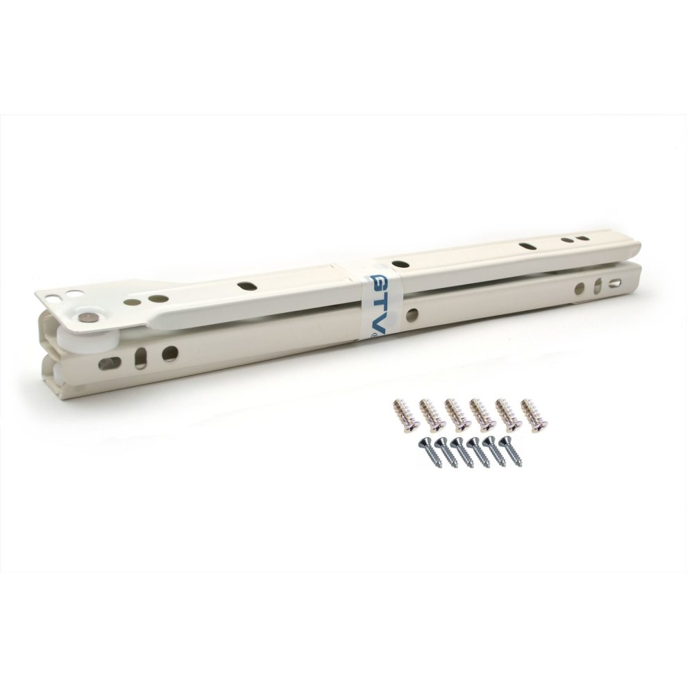 2 pairs High Quality Roller Drawer Slides Runners Bottom Fix Metal White 400mm