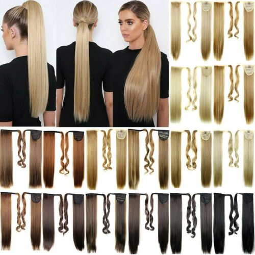 Long Straight Hair Wrap Ponytail Clip in Pony Tail Hair Extensions Natural