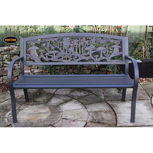 UK Gardens 127cm Steel Framed Cast Iron Outdoor Bench with Fairies and Puppies