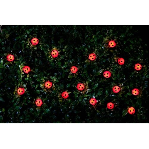 30 Insect Solar Powered String Lights Ultra Bright LED Lights with Dual Function (Static and Flashing Mode) - Ladybird