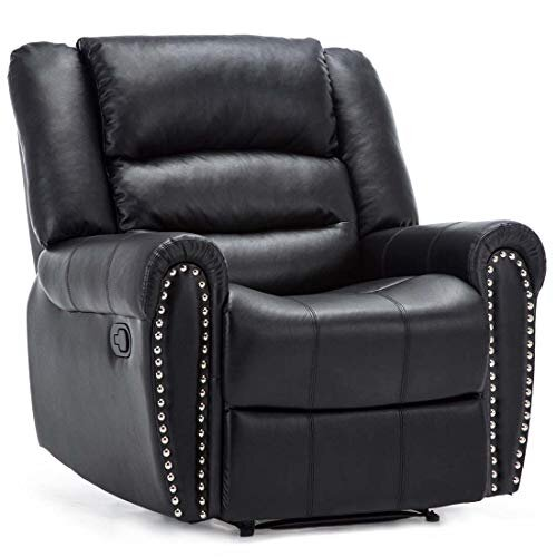 DENVER BONDED LEATHER RECLINER ARMCHAIR w STUD SOFA HOME LOUNGE CHAIR RECLINING