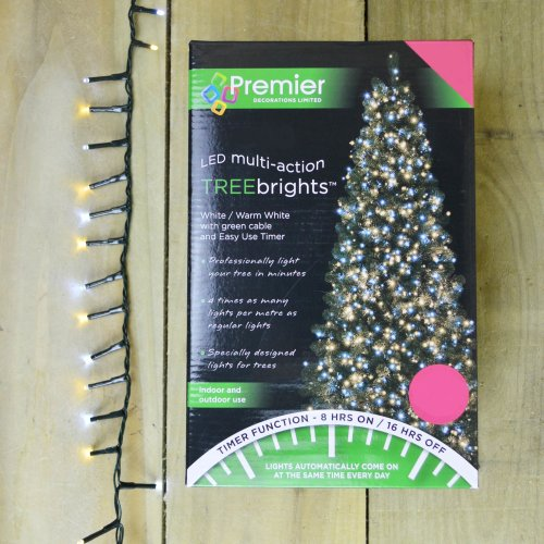 1000 LED (25m) Premier TreeBrights Christmas Tree Lights TIMER Cool & Warm White
