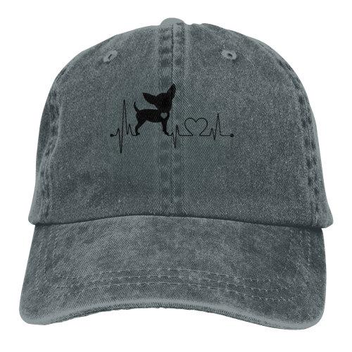 Cute Dog Heartbeat Denim Baseball Caps