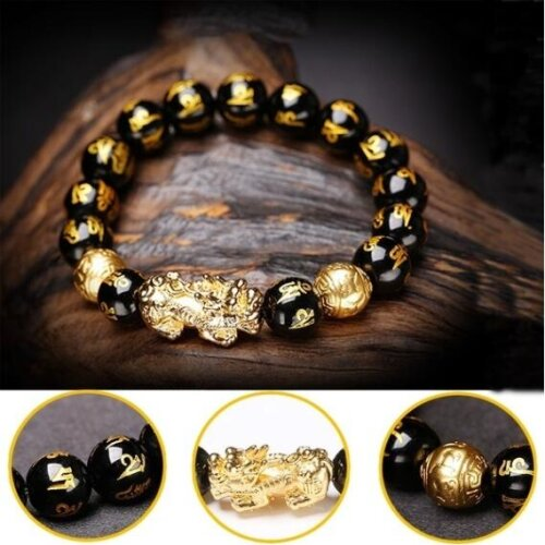 Black Obsidian Wealth Bracelet Gift for Men
