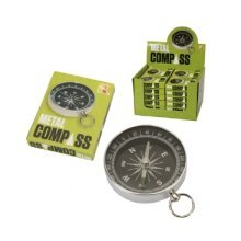 Metal Pocket Compass With Key Ring Attachment -  metal compass toy gift science fun pocket money idea birthday