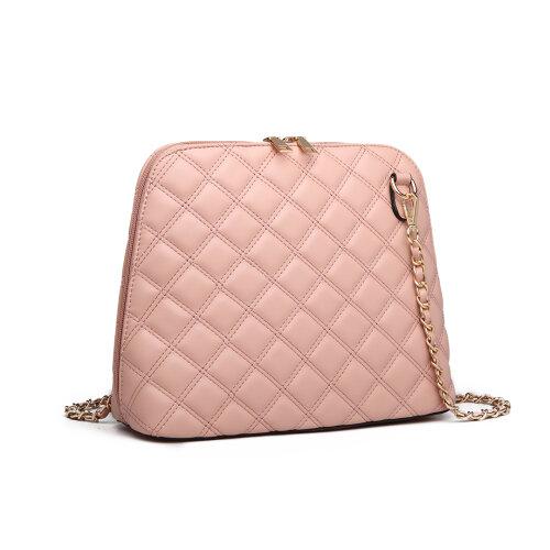 (Pink) Miss Lulu Quilted Shoulder Cross Body Bag