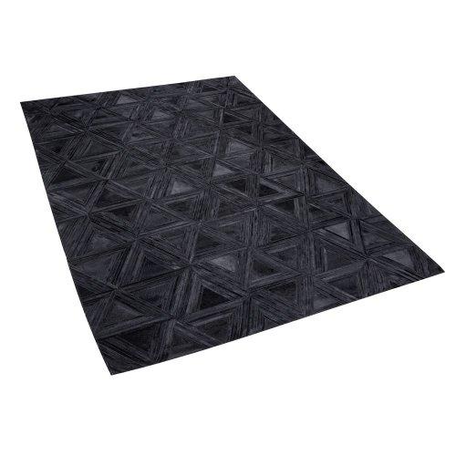 Leather Area Rug 160 x 230 cm Black KASAR