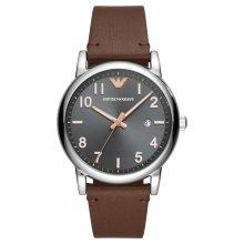 Emporio Armani Men's Three-Hand Brown Leather Watch AR11175