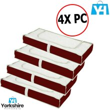 4 x Box Large Capacity Under bed Storage Bed Bags Blanket Duvet Clothes Storage Box Red