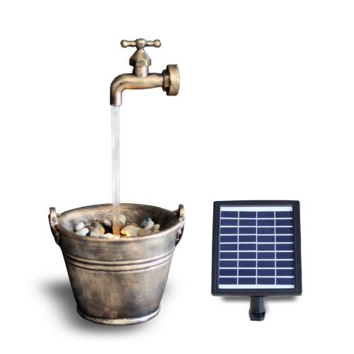 (SOLAR BUCKET TAP FOUNTAIN) GEEZY Solar LED Statues Home Decoration Outdoor Garden Water Features Fountains