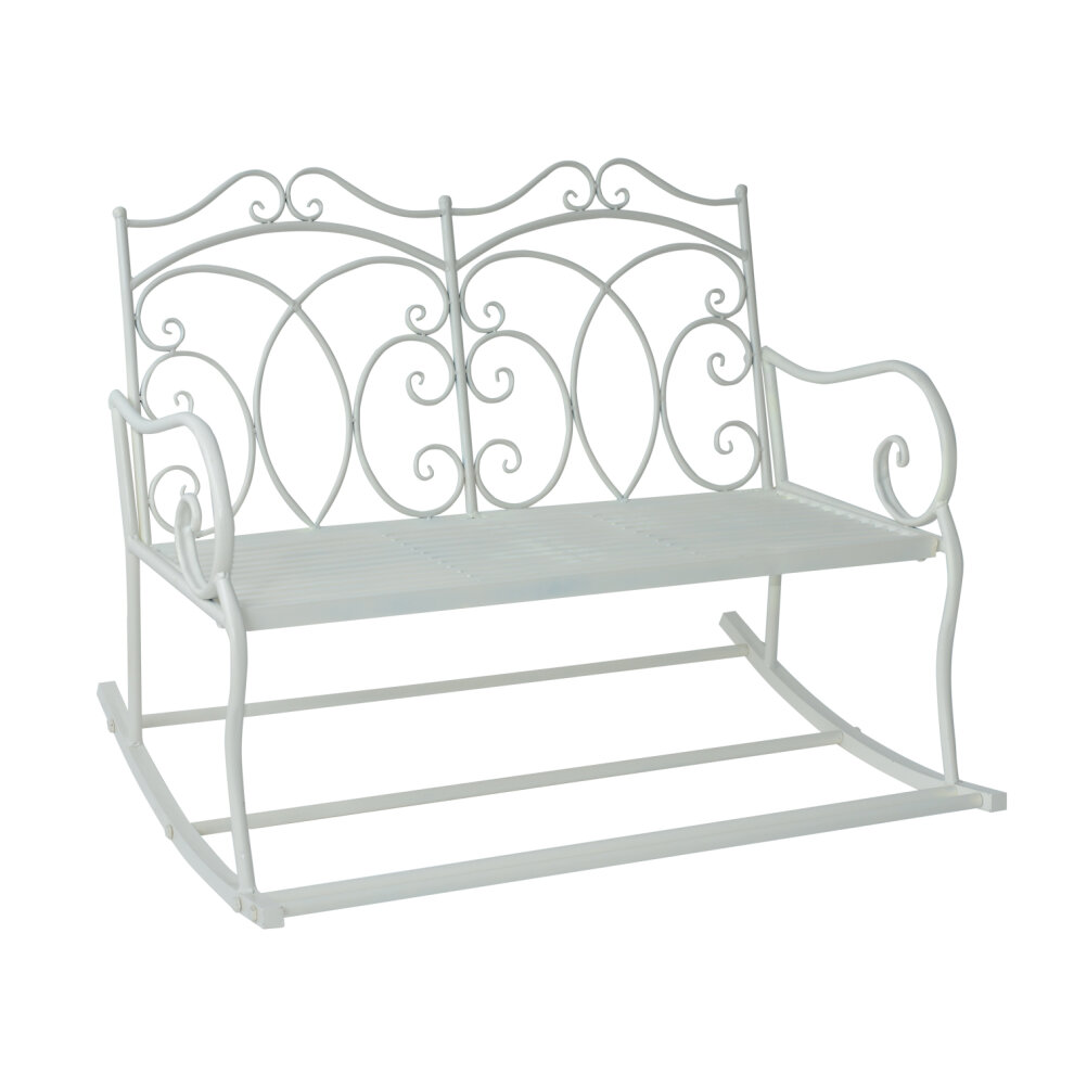 Outsunny Bench Garden Chair Outdoor Indoor Patio 2 Seater Loveseat Metal Furniture White