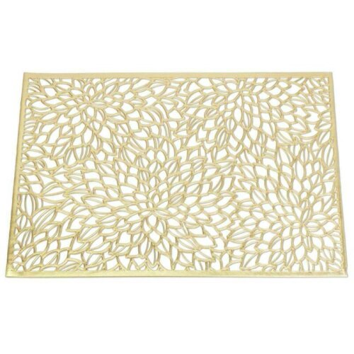 (Gold) Rectangular Placemat Chargers Floral Mat Dining Table Mat Wedding Party Birthday