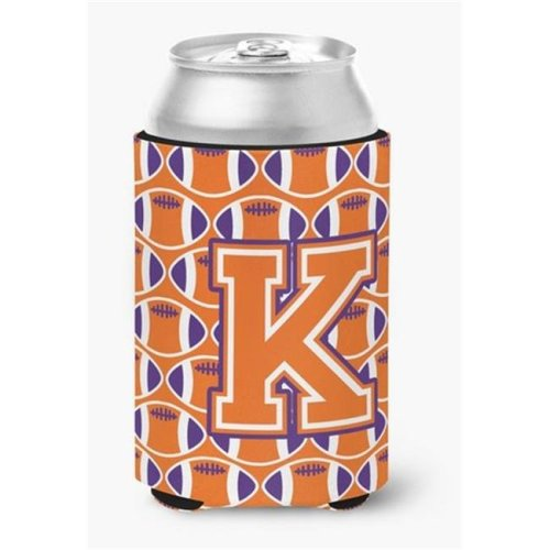 Letter K Football Orange, White & Regalia Can or Bottle Hugger
