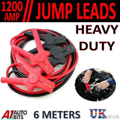 HEAVY DUTY 1200AMP 6 METRES 6M JUMP LEADS BOOSTER CABLES PETROL DIESEL CAR VAN