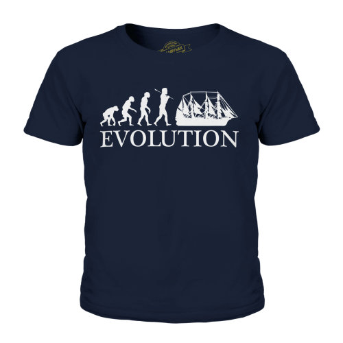 (Dark Navy, 11-12 Years) Candymix - Argosy Evolution Of Man - Unisex Kid's T-Shirt