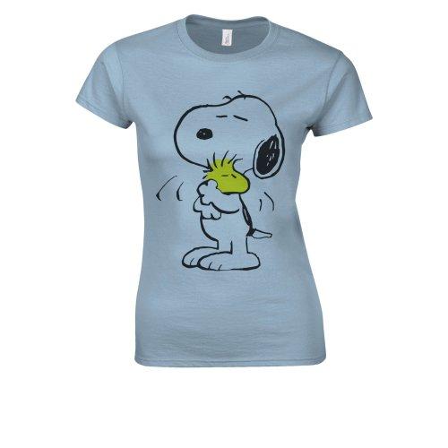 (Large, Blue) Snoopy PEANUTS Cartoon Happy Cute White Women T Shirt Top