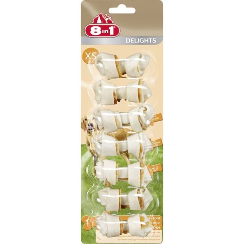 8in1 Dog Delights Rawhide Bones Xs (Pack of 6)