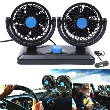 12V 360¡ã Rotation Dual Head Car Fan Mini Air Cooling Cooler Van Cigarette Plug