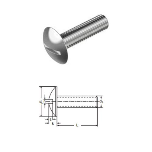 Mushroom Head Slotted Screws M4 x 40 mm A2 (T304) Stainless Steel