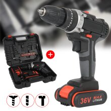 36V 2Speed Power Cordless Combi impact Drill Screwdriver 2 Batteries