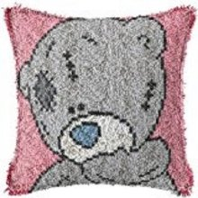 """Latch Hook Complete Cushion Cover Kit""""Grey Teddy on Pink""""43x43cm"""