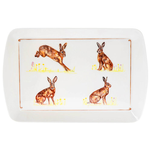 Small Rectangular Melamine Hares Design Snack Tray Foods Drinks Serving Trays
