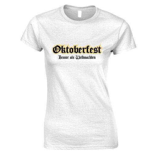 (L, White) German Womens TShirt Oktoberfest It's Better Than Christmas Apreciation Slogan