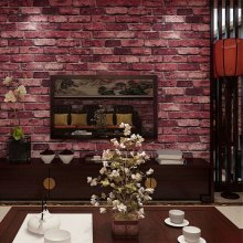 Red Charcoal Slate 3D Effect Stone Brick Textured Wallpapers