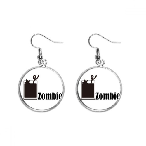 Zombie Cocktail With The Word Zombie Ear Dangle Silver Drop Earring Jewelry Woman
