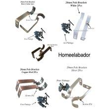 28MM Heavy Duty Metal Curtain Pole Rod Holder Brackets Silver,Brass,Black,White