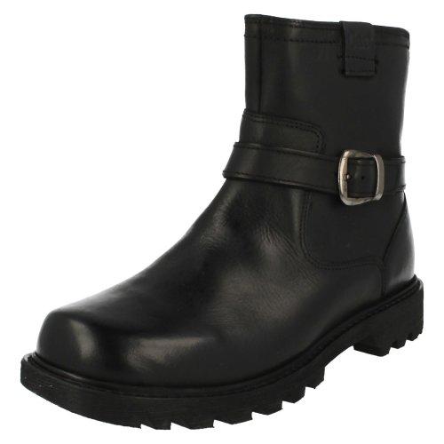 (UK 3, Black) Ladies CAT Biker Style Ankle Boots Everyday Biker - W Fit