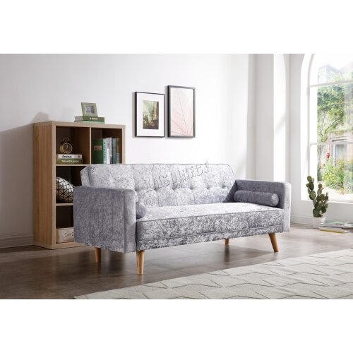 (Velvet Grey) WestWood Fabric Sofa Bed 3 Seater Couch Luxury Modern Home Furniture FSB04 New