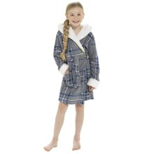 Childrens Check Print Hooded Fleece Robe with Sherpa Trim
